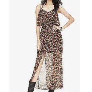 Express sz:M Flower Flowy Top Maxi Slit Dress